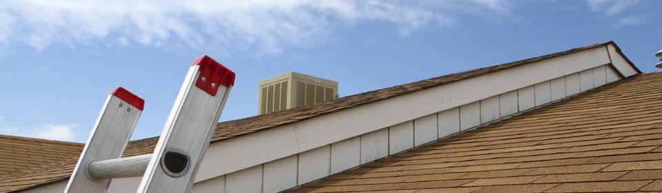 stormschade repareren met ladder